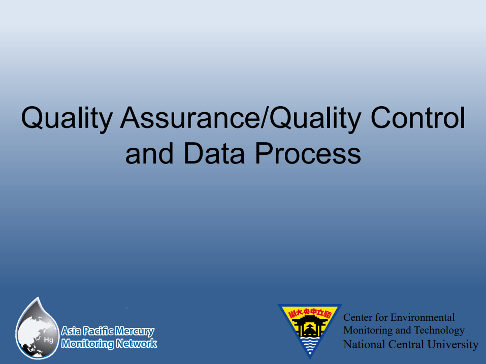 First slide of the QAQC and Data Process training