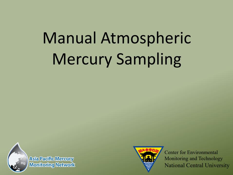 First slide of the Manual Atmospheric Hg Sampling presentation