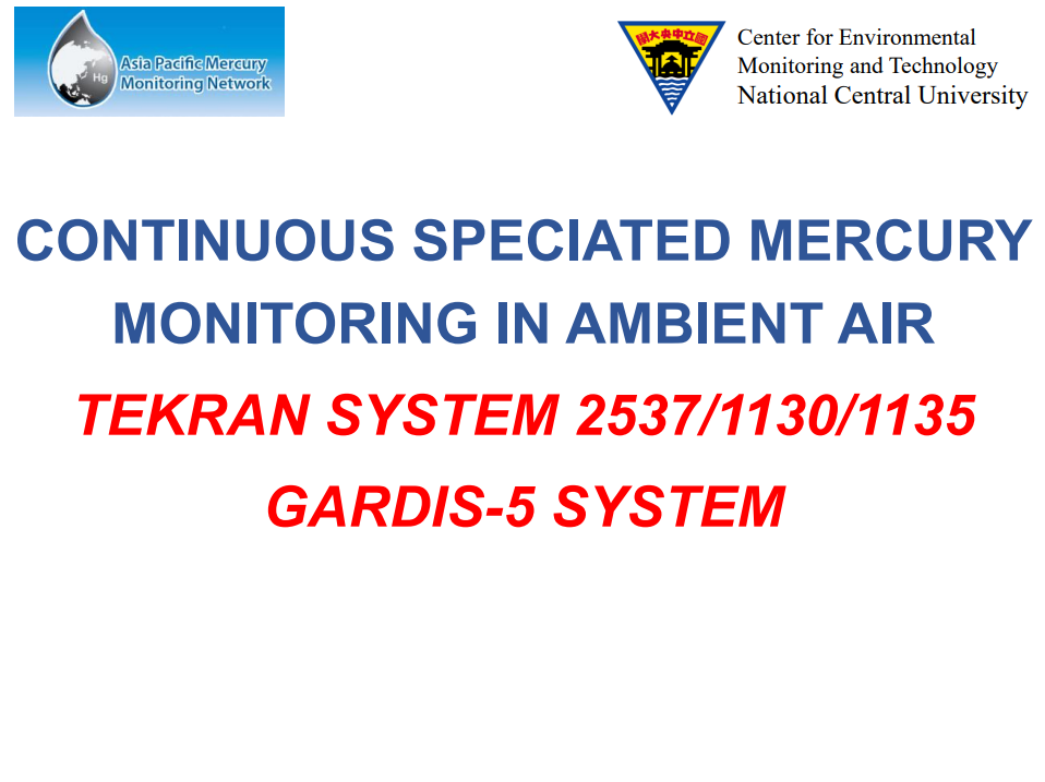 First slide of the Continuous Atmospheric Hg Sampling presentation