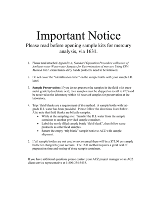 First page of the important notice for Method 1631